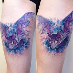 Water colored Bat tattoo Design. This vibrant colored bat tattoo is worth giving a shot.