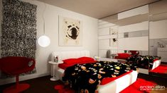 Baby Nursery, White Mattress Red Pillow Sheets Line Chair Carpet Rur Rug Mirror Wall Paper Table Chandelier Designer Childrens Rooms Idea Children Decorations Themes Designing Kid Bed Room Designs: Amazing, Inspiration Ideas and Decoration Kids Room