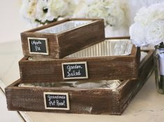 Rustic Serving Trays With Chalkboard Signs Holiday Entertaining Christmas Gift. $90.00, via Etsy.