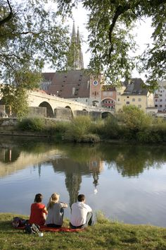 Have a relax evening on the bank of Danube river at #Regensburg, Bavaria, Germany