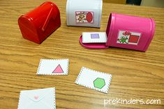 sort shape cards into mailboxes