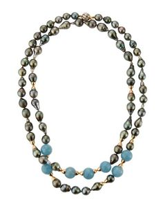 "Tahitian Pearl & Aqua Bead Necklace, 41"" by Belpearl at Neiman Marcus Last Call."