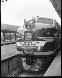 First Standard Gauge train, Sydney-Melbourne, 1962 Diesel Locomotive, Steam Locomotive, Old Bullet, Melbourne, Sydney, Train Posters, High Speed Rail, Standard Gauge, Road Train