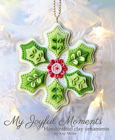Handcrafted Polymer Clay Ornament by Kay Miller on Etsy. Would look nice as a felt ornament also! Polymer Clay Ornaments, Polymer Clay Projects, Polymer Clay Creations, Handmade Ornaments, Felt Ornaments, Christmas Ornaments, Snowflake Ornaments, Fimo Kawaii, Crea Fimo