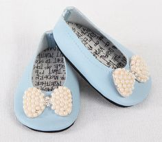 American Girl Doll Shoes, AG Doll Shoes, 18 inch Doll Shoes – Handmade Modern Ballet Flats, Baby Blue with Rhinestone Bow Tie Embellishment