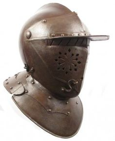 17th century or later closed Burgonet helmet. The peak, or brim, was meant to shield against vertical attack. Some helmets could weigh up to 10 pounds.  #Renaissance #Burgonet