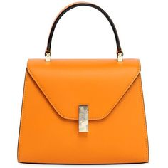 Valextra Women Mini Iside Leather Top Handle Bag (11.360 RON) ❤ liked on Polyvore featuring bags, handbags, orange, leather purses, top handle leather handbags, embossed purse, real leather purses and mini purse