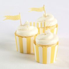 Exclusively Weddings | Yellow Flag Cupcake Toppers