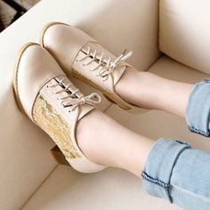 Sweet Mesh Lace Up Black White Mid Block Heel Oxford Shoes
