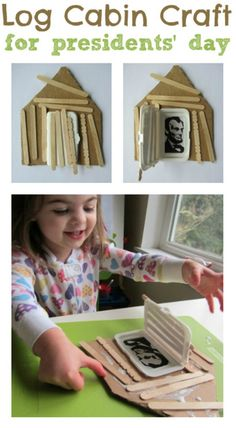 Popsicle Log Cabin Craft   President's Day Crafts for Kids   Teach Your Child About American History With These Super Fun Activities And Crafts by DIY Ready at http://diyready.com/presidents-day-crafts-for-kids/