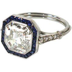 Art deco asscher-cut diamond ring with sapphires