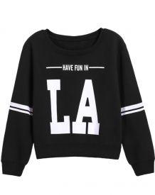 Black Long Sleeve LA Print Crop Sweatshirt