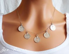 Silver Arabic coin necklace - Low shipping! Beautiful quality antiqued silver coins with Arabic inscriptures