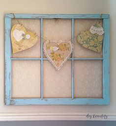 Antique Window Update ~ I love the frame color, the lace, the hearts!