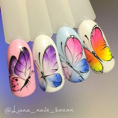 Almond Nails Designs, Toe Nail Designs, Simple Nail Designs, Butterfly Nail Designs, Butterfly Nail Art, Summer Holiday Nails, Summer Nails, Gel Nail Art, Nail Manicure