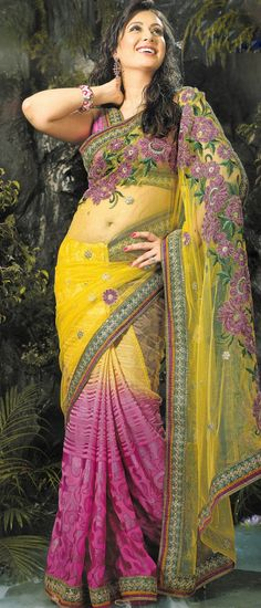 #Yellow and #Pink Net #Saree with Blouse @