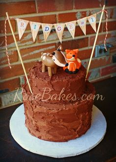 Woodland Animals Camping Birthday Cake