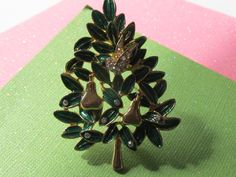 """Vintage Christmas Tree Brooch """"Partridge in a Pear Tree"""" with Green Enamel and Rhinestones by Lavendergems on Etsy"""