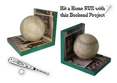 DIY Baseball bookends - CUTE for Boy's room. From: http://www.modpodgerocksblog.com/2011/07/diy-baseball-bookends.html