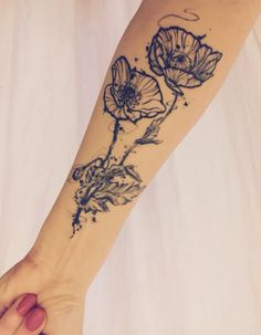 tattoo, tat, floral tattoo, poppies, poppy, forearm tattoo, poppy tattoo, poppies tattoo