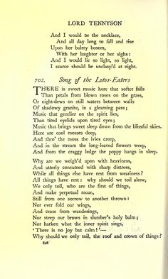 """Poem: """"The Lotos-Eaters"""" an excerpt) - by Alfred Tennyson. Beautiful Poetry, Beautiful Things, Poetry Quotes, Me Quotes, Whitman Poems, Tennyson Poems, Oxford Books, Very Short Stories, British Poets"""
