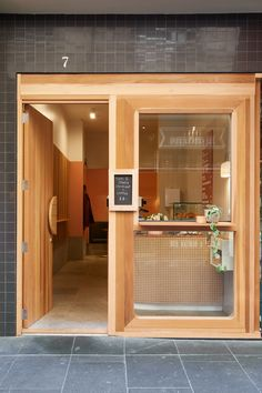 restaurant door Let us amaze you with our best selection of restaurant doors Small Restaurant Design, Small Cafe Design, Shop Front Design, Small Store Design, Restaurant Door, Bakery Shop Design, Cafe Door, Shop Facade, Cafe Interior Design
