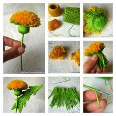DIY a Dandelion Pom Pom... and lions teeth! A Great November Flower as DIY, with a crochet leaf! Provided by Craft Blog UK.