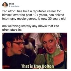 He will always be Troy Bolton for me // same! XD tbh it's just that high school musical was like my favourite movie when I was a kid~ Stupid Funny, The Funny, Hilarious, Funny Stuff, Dumb Jokes, Funny Things, Random Stuff, Troy Bolton, Funny Quotes