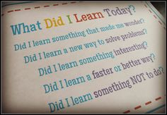 """What Did I Learn Today?"" We want our children to make a habit of asking themselves this question. It seems obvious, but sometimes we need to remind them that, yes, we do expect them to learn something new each and every day! This learning log will help them keep that goal in mind, while they build the important habit of daily reflection. $"