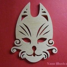 Sculpture masque chat en chantournage