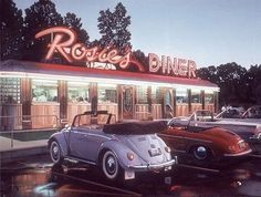 Maggie's Diner. Just pulling into Rosie's Diner in our classic cars and most likely dressed to kill. 1950s Aesthetic, Diner Aesthetic, Aesthetic Vintage, Aesthetic Photo, Aesthetic Pictures, Brown Aesthetic, Aesthetic Gif, Aesthetic Fashion, Retro Vintage