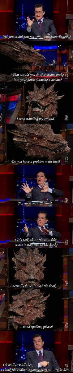 Smaug on The Colbert Report.