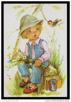 Illustrations Vintage, Holly Hobbie, Child Face, Silk Ribbon Embroidery, Cute Illustration, Big Eyes, Hobbies And Crafts, Vintage Postcards, Nursery Art