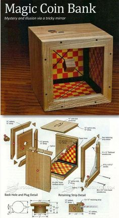Wooden Coin Bank Plans - Woodworking Plans and Projects - Woodwork, Woodworking, Woodworking Plans, Woodworking Projects Woodworking Furniture Plans, Woodworking Projects That Sell, Woodworking Jigs, Wood Furniture, Woodworking Workshop, Fun Projects, Wood Projects, Project Ideas, Magic Coins