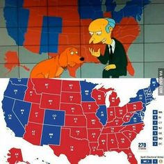 The Simpsons even got the the electoral map right. @9gagmobile #9gag #election #election2016 #simpsons