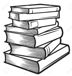 Stack of books clip art of books clip art image black for Copyright template for book
