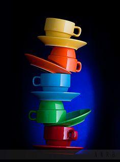 colorful cups, saucers, food-safe glue = amazing food-serving piece / artwork!