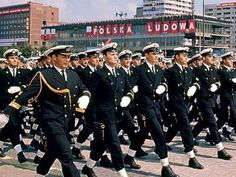 Staff officers and officer-scholars of the Polish Naval Academy marching through Parade Square in Warsaw at the 1966 Polish Liberation Day and Millenial Anniversary Parade.
