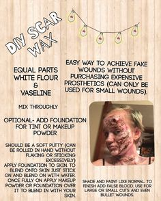 DIY Scar Wax This is super easy and cheap and I use it all the time. This isn't a recipe to be used for a long lasting cosplay cause it will start to fall off. But if your going to a Halloween party or just want to test out fx makeup before investing in silicone and latex this is perfect.