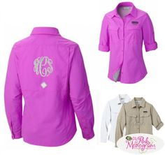 Ladies Columbia Cascades Explorer Shirt Pink, Tan or White - Just a slimmer version of our over sized coverup- Lover this one in Pink! www.thepinkmonogram.com