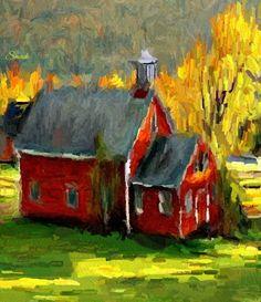 Autumn School House by Bob Smerecki Alison Johnson, Barn Paintings, House Painting, Impressionism, Bob, Autumn, School, Artwork, Work Of Art