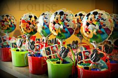 My friends birthday buckets she did for her grandsons first birthday party, Mickey Mouse. First Birthday Favors, Mickey 1st Birthdays, Mickey Mouse First Birthday, Birthday Ideas For Her, Mickey Mouse Clubhouse Birthday Party, 1st Birthday Parties, 2nd Birthday, Minnie Y Mickey Mouse, Fiesta Mickey Mouse