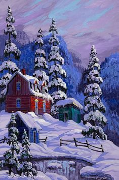 Vladimir Horik, 'Un coeur charlevoisien', 20'' x 30'' | Galerie d'art - Au P'tit Bonheur - Art Gallery Great Paintings, Artistic Pictures, Naive Art, Winter Painting, Night Art, Winter Art, Landscape Art, Country Art, Garden Rock Art
