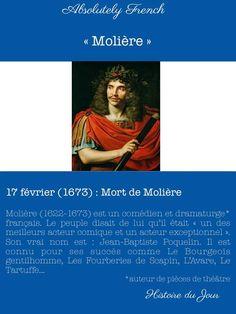 Histoire du jour : 17 février (1673), mort de Molière 🇫🇷 Le connaissez-vous ? #Molière #acteur #dramaturge #auteur #français #histoiredujour #histoiredeFrance #France #french www.absolutely-french.eu