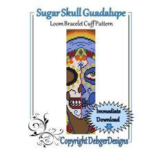 Sugar+Skull+Guadalupe++Loom+Bracelet+Cuff+Pattern+by+LoomTomb,+$4.50