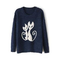 Cats Pattern Thicken Blue Jumper  #pariscoming your personal style online store. #outfit #stylist #Styling #streetstyle #fashionblog #fashiondiaries #fashiondiary #WearIt #WhatYouWear ✿ ❀ like it? buy now ❀ ✿