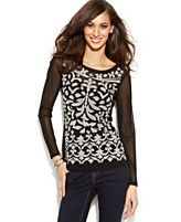 INC International Concepts Embroidered Illusion Top