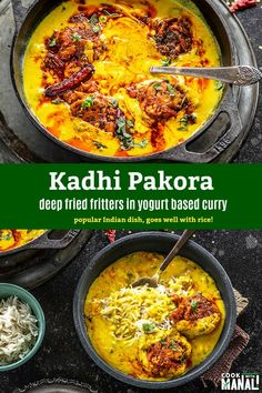 Tangy and flavorful Punjabi Kadhi Pakora has deep fried pakoras (fritters) dunked in a tangy yogurt based curry! Best enjoyed with steamed white rice! Rice Recipes For Dinner, Lunch Recipes, Cooking Recipes, Best Indian Recipes, Asian Recipes, Ethnic Recipes, Pakora Recipes, Curry Recipes, Vegetarian Curry