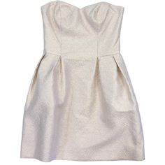 Pre-owned Amanda Uprichard Cream & Gold Print Strapless Dress ($99) ❤ liked on Polyvore featuring dresses, white gold dress, white strapless dress, strapless sweetheart dress, circle skirt and strapless dresses
