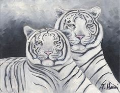White tigers painting 8x10 original oil painting, art & collectibles, painting, fine art earthspalette